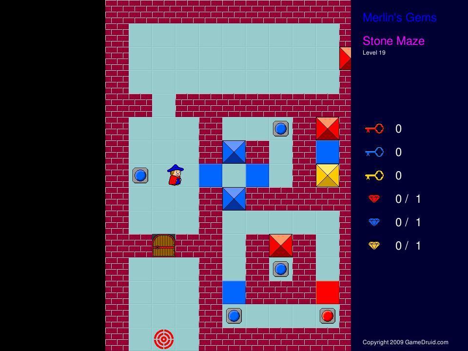 Help merlin find gems in mazes.